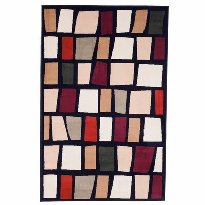 Color Blocks Black Area Rug Rug Size: Rectangle 4 x 6