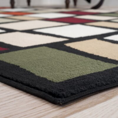Color Blocks Black Area Rug Rug Size: Runner 18 x 5