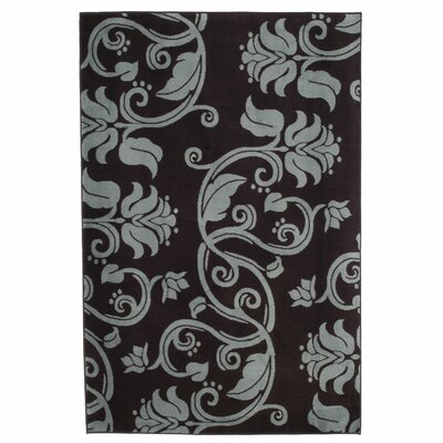 Floral Scroll Brown & Blue Area Rug Rug Size: Rectangle 4 x 6