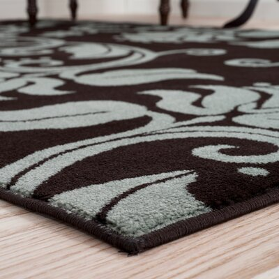 Floral Scroll Brown & Blue Area Rug Rug Size: Runner 1'8