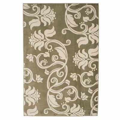 Floral Scroll Green & Ivory Area Rug Rug Size: 8 x 10