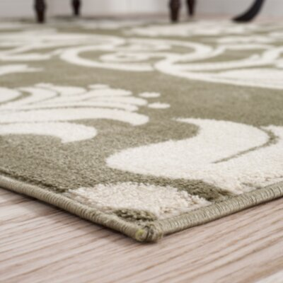 Floral Scroll Green & Ivory Area Rug Rug Size: Runner 18 x 5