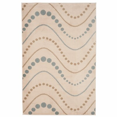 Modern Waves Beige/Teal Area Rug Rug Size: Rectangle 4 x 6
