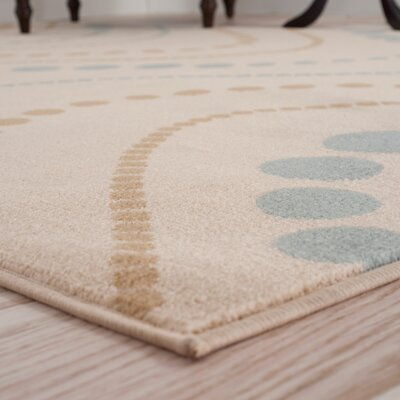 Modern Waves Beige/Teal Area Rug Rug Size: Runner 18 x 5