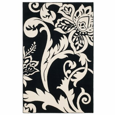 Floral Black & Ivory Area Rug Rug Size: Rectangle 4 x 6