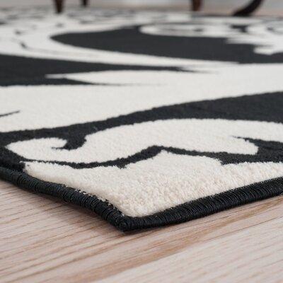 Floral Black & Ivory Area Rug Rug Size: Runner 18 x 5