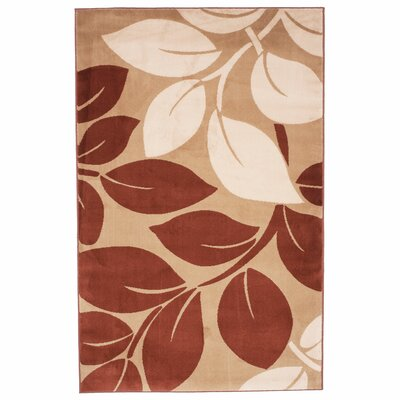 Big Leaves Beige & Brown Area Rug Rug Size: 5 x 76