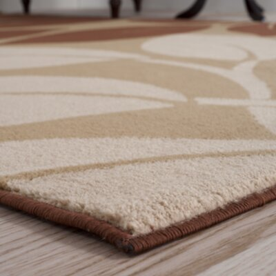 Big Leaves Beige & Brown Area Rug Rug Size: Runner 18 x 5