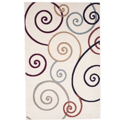 Modern Swirls Ivory Area Rug Rug Size: Rectangle 5 x 76
