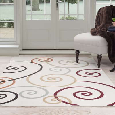 Modern Swirls Ivory Area Rug Rug Size: Rectangle 33 x 5