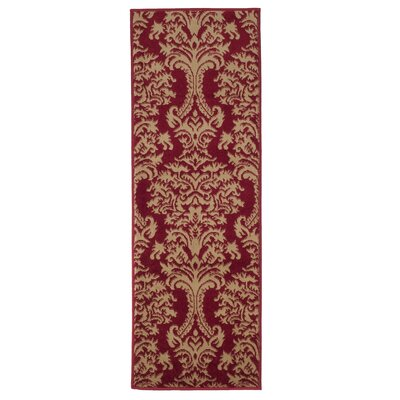 Oriental Red and Gold Area Rug Rug Size: Rectangle 18 x 5