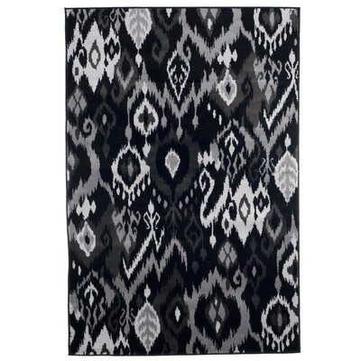 Ikat Black and Gray Area Rug Rug Size: Rectangle 5 x 77