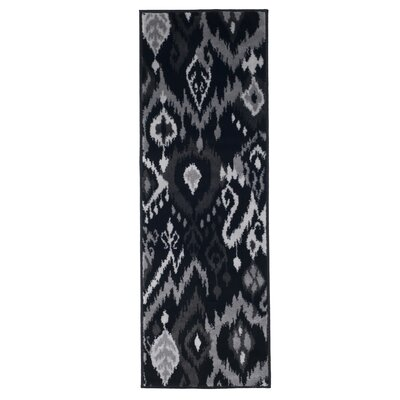 Ikat Black and Gray Area Rug Rug Size: Rectangle 18 x 5