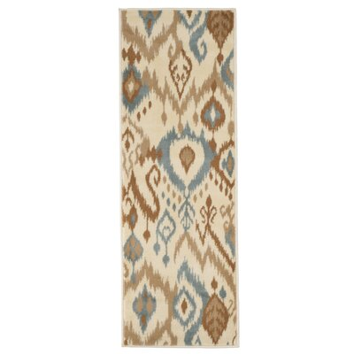 Ikat Cream & Blue Area Rug Rug Size: Rectangle 18 x 5