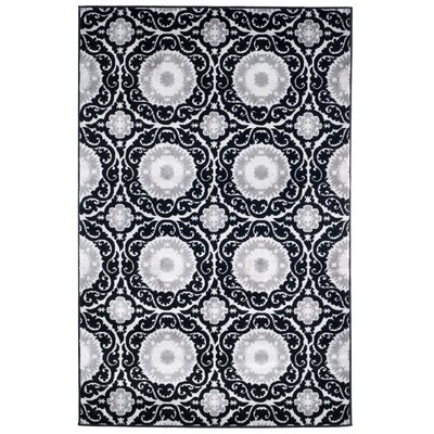 Royal Damask Black Area Rug Rug Size: Rectangle 5 x 77