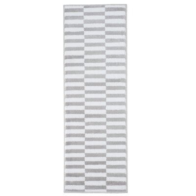 Checkered Stripes Gray Area Rug Rug Size: Runner 18 x 5