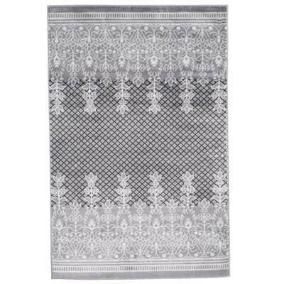 Royal Garden Gray/White Area Rug Rug Size: 4 x 6