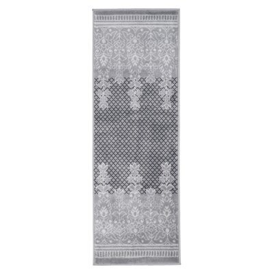 Royal Garden Gray/White Area Rug Rug Size: Runner 18 x 5