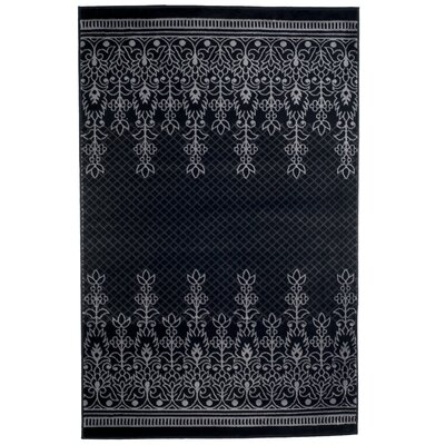 Royal Garden Black and Gray Area Rug Rug Size: Rectangle 5 x 77