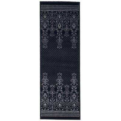 Royal Garden Black and Gray Area Rug Rug Size: Rectangle 18 x 5
