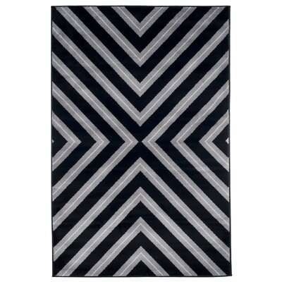 Kaleidoscope Black & Gray Area Rug Rug Size: 4 x 6
