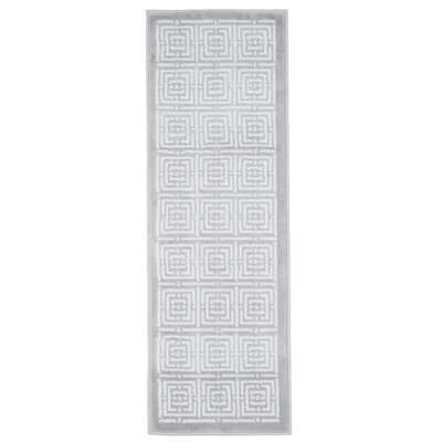 Athens Gray/White Area Rug Rug Size: Runner 18 x 5