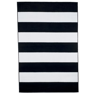 Breton Stripe Black/White Area Rug Rug Size: 5 x 77