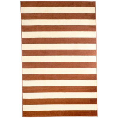 Dark Stripe Amber & Tan Area Rug Rug Size: 5 x 77