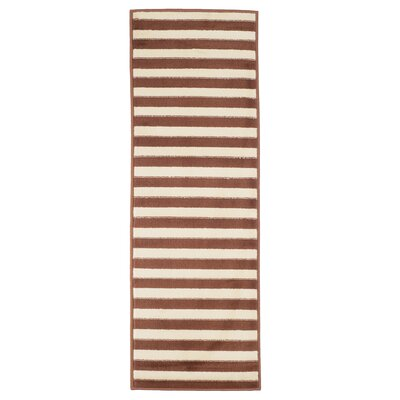 Dark Stripe Amber & Tan Area Rug Rug Size: Rectangle 18 x 5