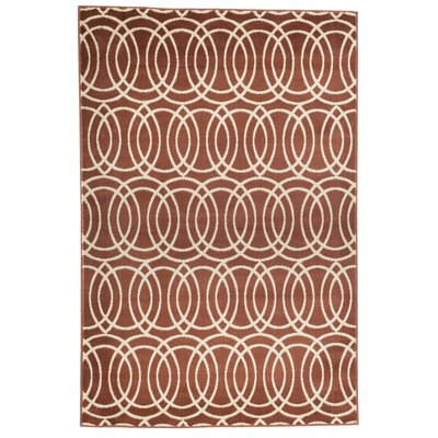 Geometric Brick and Gold Area Rug Rug Size: Rectangle 5 x 77