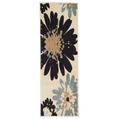 Flower Ivory Area Rug Rug Size: Runner 18 x 5