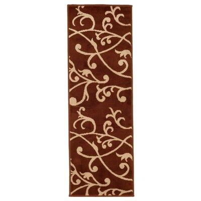 Berber Leaves Brown Area Rug Rug Size: Runner 18 x 5