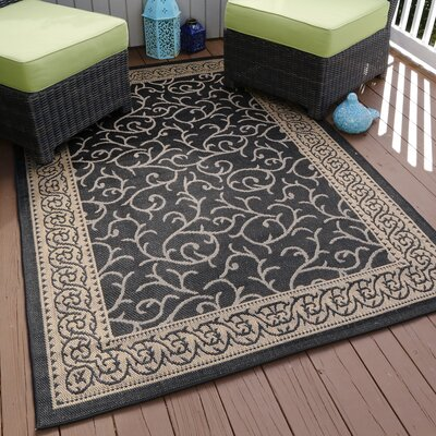 Ornate Vine Black Indoor/Outdoor Area Rug Rug Size: Round 8