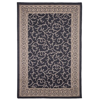Ornate Vine Black Indoor/Outdoor Area Rug Rug Size: Rectangle 5' x 7'7