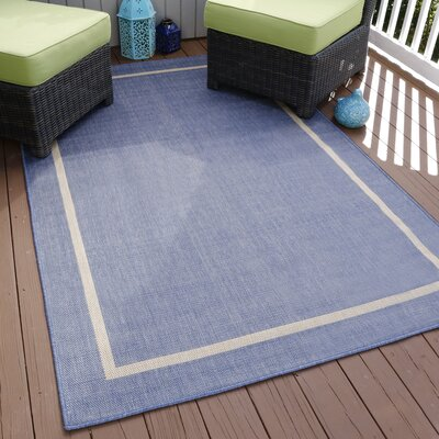 Border Blue Indoor/Outdoor Area Rug Rug Size: Round 8