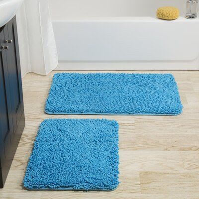 Gallia 2 Piece Bath Rug Set Color: Blue