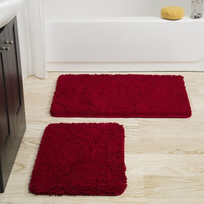 Gallia 2 Piece Bath Rug Set Color: Burgundy