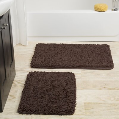 2 Piece Bath Rug Set Color: Chocolate