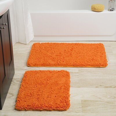 Gallia 2 Piece Bath Rug Set Color: Orange