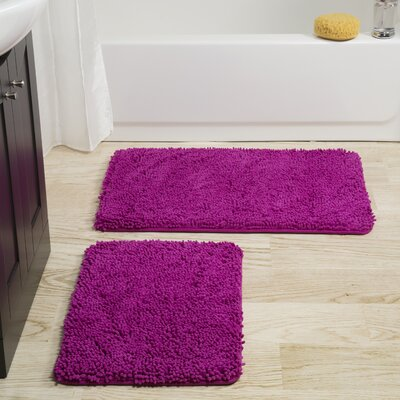 Gallia 2 Piece Bath Rug Set Color: Pink