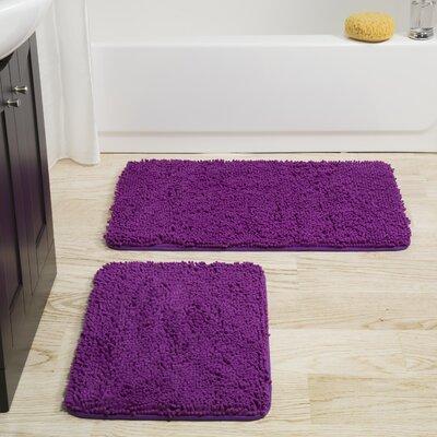 2 Piece Bath Rug Set Color: Purple