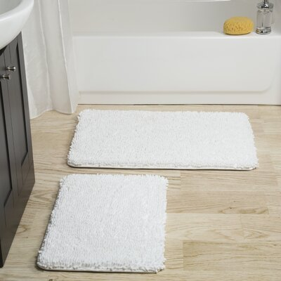 Gallia 2 Piece Bath Rug Set Color: White