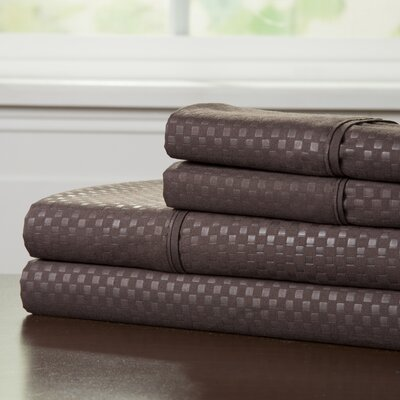 90 GSM Embossed Sheet Set Color: Chocolate, Size: Twin