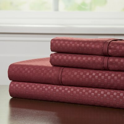 90 GSM Embossed Sheet Set Size: Full, Color: Burgundy