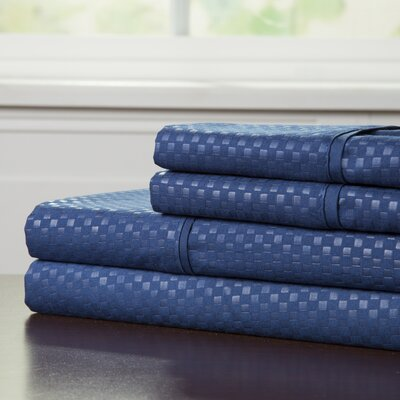 90 GSM Embossed Sheet Set Color: Navy, Size: Queen