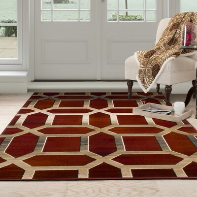 Flushing Burgundy Area Rug Rug Size: Rectangle 53 x 77