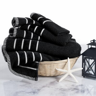 Delfino Rice Weave 6 Piece Towel Set Color: Black