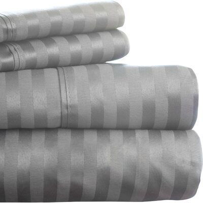 300 Thread Count Cotton Sateen Sheet Set Color: Grey, Size: King