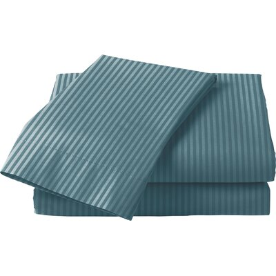 300 Thread Count Cotton Sateen Sheet Set Color: Blue, Size: Queen
