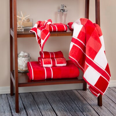 Oakville 100% Cotton 6 Piece Towel Set Color: Red